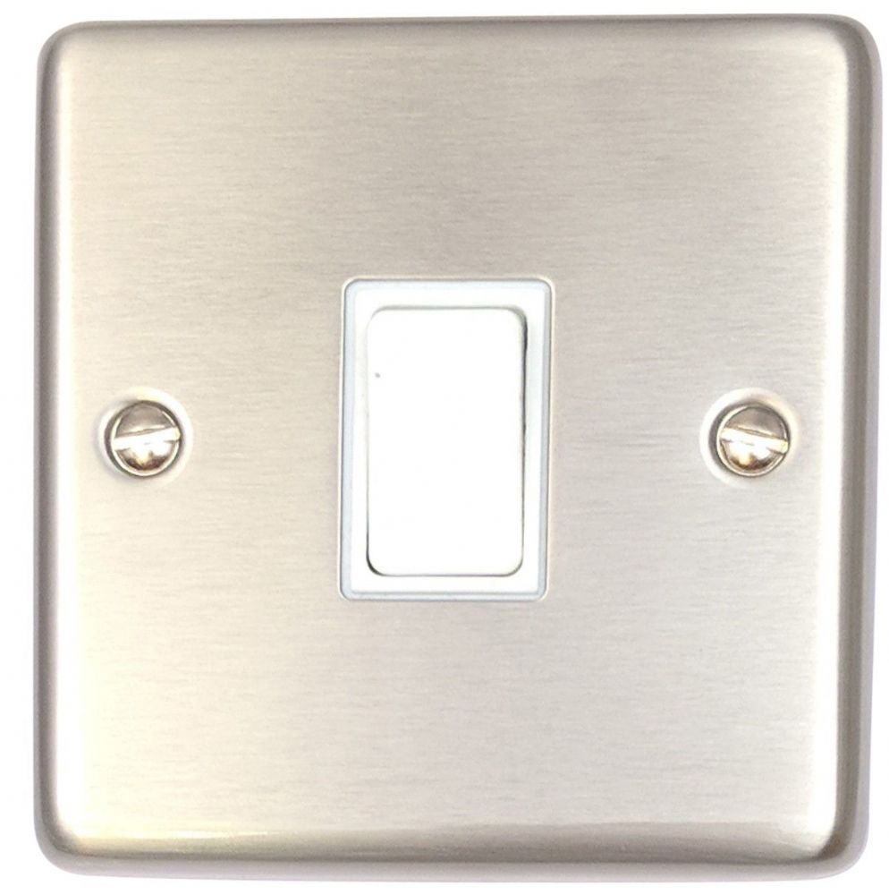 G&H CSS1W Standard Plate Brushed Steel 1 Gang 1 or 2 Way Rocker Light Switch